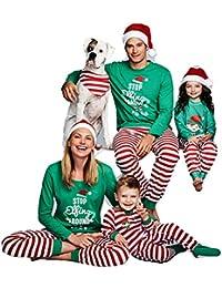 Hibote Ensemble de Pyjamas de Noël Assortis Famille - Papa Maman Enfants vêtements de Nuit bébé