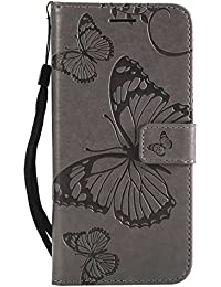 DENDICO Huawei P20 Hülle, PU Leder Handyhülle mit Standfunktion und Kartenfach, Schmetterling Muster Magnetverschluss Flip Brieftasche Etui TPU Schutzhülle für Huawei P20 - Gris
