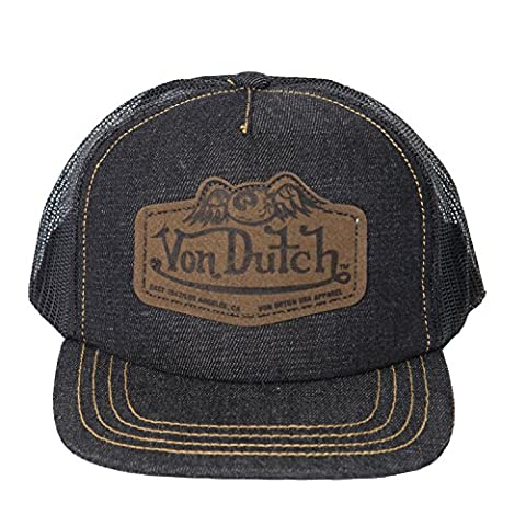 Von Dutch Men's Leather Patch Trucker Hat-One Size