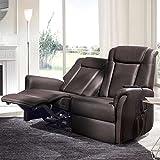 Pharao24 2 Sitzer Relaxsofa in Braun elektrisch verstellbar