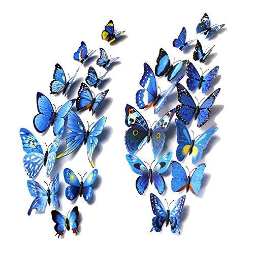 Forepin® 24 Pezzi 3D Farfalle Magnete Casa Camera Frigo Decorazioni Animal Wall Sticker Adesivi Murali Adesivi da Parete con Colla Stick - Blu Farfalle