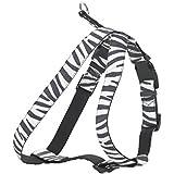 CHAPUIS SELLERIE SLA391 Arnés ajustable de perro - Arnés aterciopelado con estampado de cebra - Ancho 20 mm - Dimensiones: 40-60 cm - Talla M
