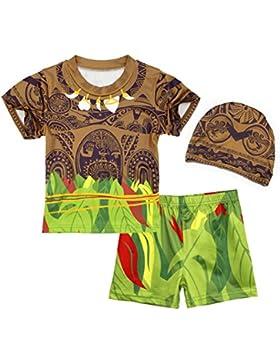 AmzBarley Chicos Ni?os 3 unids traje de ba?o Maui traje de ba?o playa pantalones cortos traje de ba?o con gorra