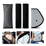 Almohadillas para Cinturón, synmixx 4Piezas Cojín de Coche los Niños Ajustable Dormir Comodo Proteccion Cinturones de Seguridad Almohadillas Protectoras Hombro Reposacabezas