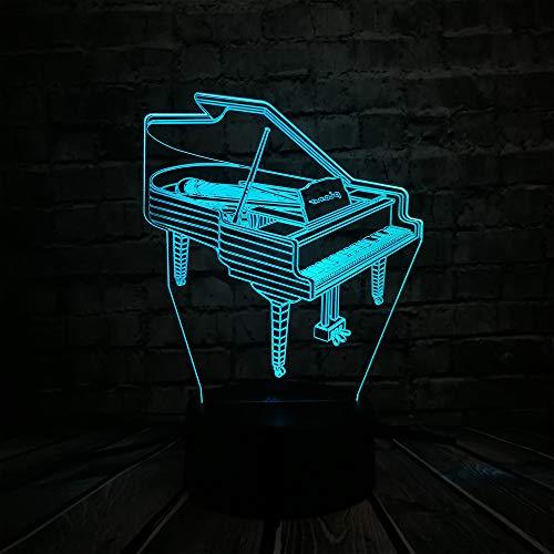 Musikinstrument Retro Klavier 3D USB LED Lampe 7 Farben Birne Musiker Geschenk Kind Schlafzimmer Dekoration Elegante Nachtlichter, Touch