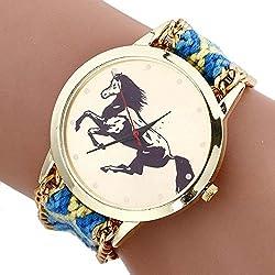 SSITG Women's Watch Fashion Horse Pattern Line Knitted Analog Quartz Wrist Watch Gift Gift