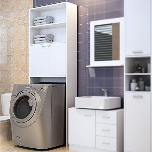 meuble-etagere-de-rangement-pour-salle-de-bain-toilettes-armoire-blanc-avec-portes-195x63x20cm
