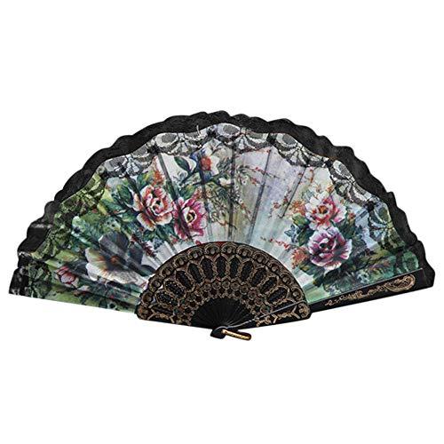 Syeytx chinesischen Stil 23 cm Blumen Serie Lace Hand Folding Fan Dance Wandventilator, Hochzeit, Party, Tanz, Karneval (Party Girl Tanz Kostüm)
