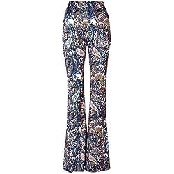 Pantalones Acampanados Étnicos De Boho del Piso Bell De La Parte Inferior del Piso De La Mujer L