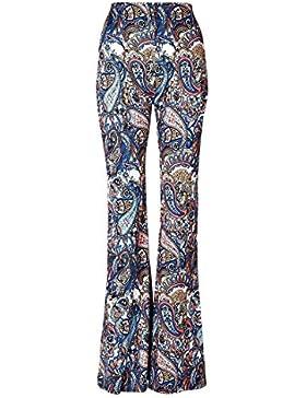 Jiayiqi Pantalones Acampanados Mujeres Boho Elástico Bell Palabra De Longitud