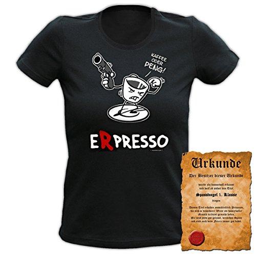 Fun T-Shirt 4 Girls ::: Espresso Peng ::: Damen Top mit Urkunde Schwarz