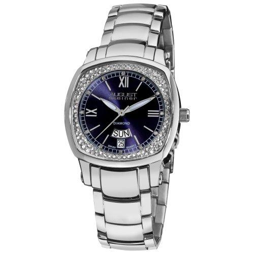 August Steiner Reloj de cuarzo suizo de diamantes de día de la mujer Fecha