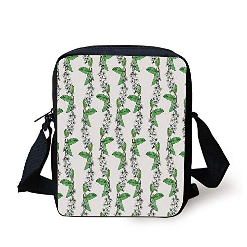 Leaves,Blossoms of Romantic Spring Flowers of Bird Cherry Tree with Green Swirling Leaves Herbs,Blue Green Print Kids Crossbody Messenger Bag Purse -