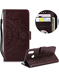 Braun Brieftasche für Huawei P20,Gurt Leder Handyhülle für Huawei P20,Moiky Ziemlich Jahrgang Mandala Blume Geprägt Klappbar Stoßdämpfende Stand Handytasche