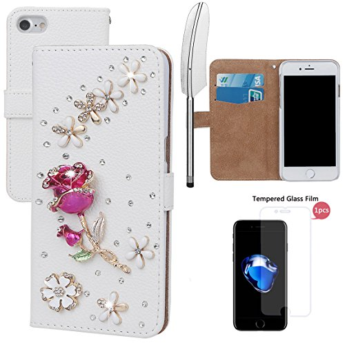 "xhorizon MLK Boutique à la main Bling Glitter Housse de portefeuille Elégante et Rose Boîtier de protection en plein corps pour iPhone 7 / iPhone 8 [4.7""] avec un stylet DIY66 Rose-Rose rouge +9H Glass Tempered Film"