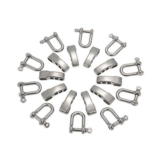 Lixada 10PCS U Form verstellbare Einsteller Anker Schäkel Outdoor-Seil Paracord Armband Schnalle aus rostfreiem Stahl (Edelstahl-anker-schäkel)