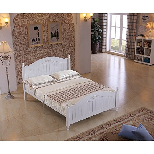 Modern Double 4'9 Solid Wooden White Metal Bed Frame 1.5 x 1.9m Bedroom Furniture