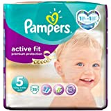 Pampers Actif Couches D'Ajustement Taille 5 Pack Essentiel - 35 Couches.