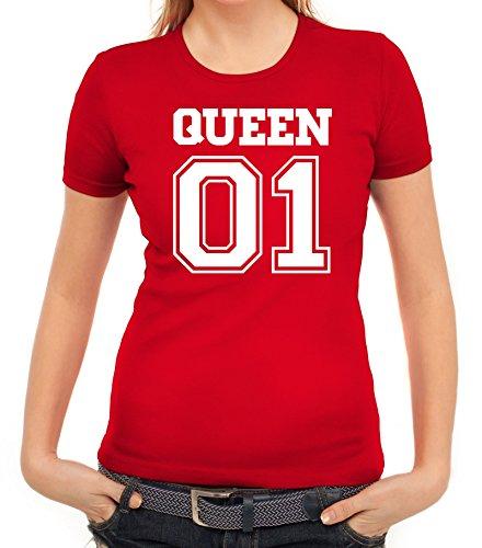 Valentinstag Hochzeit Paar Partner Valentine Damen T-Shirt mit Queen 01 vorne Motiv Rot