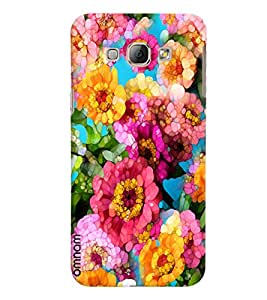 Omnam Pink Flower Pattern Puzzle Effect Printed Designer Back Cover Case For Samsung Galaxy A8