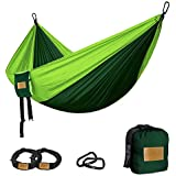 greenmall tamaño grande ligero nylon paracaídas hamaca portátil doble Camping hamaca, Premium, perfecto para Backpacking, viajes, playa, Senderismo, 300cm * 200cm, 3años de garantía, Verde oscuro