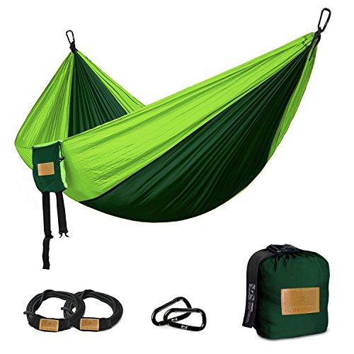 Camping Hängematte, großflächige Doppel hängematte, Premium Tragbare leichte Fallschirm Nylon Hängematte, perfekt für Rucksackreisen, Reise, Strand, Wandern, 300cm * 200cm, 3 JAHRE GARANTIE
