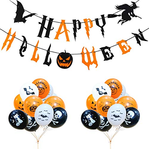 Witch's house forniture per feste di halloween kit 1pcs banner happy halloween e palloncini in lattice 100pcs zucche / scheletri / gatto / pipistrelli / decorazioni a palloncino modello halloween.
