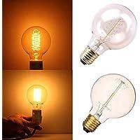PerGrate Vintage Edison Bombilla LED E27 G80/G95/G125 40W/60W 220V Filamento Bombilla Retro Estilo Antiguo Edison Lámpara, Warm White, 40W