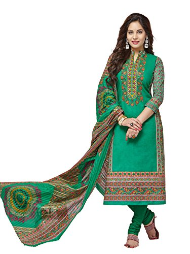 PSHOPEE Green Lawn Cotton Printed Karachi Special Unstitched Salwar Suit Dress Material