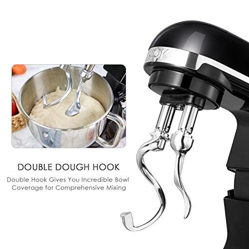Aicok-Robot-Ptissier-Robot-de-Cuisine-Crochet-Double-Fouet-Feuille-Couvercle-Bol-en-Inox-de-5L-6-Vitesses-1000W-Couleur-Noir