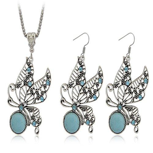 JewelleryClub Fee Schmetterling Schmuck Set Antique Silber überzogen Swarovski Elements Kristall Türkis Halskette Ohrringe (Fee Tochter Mutter Kostüme Und)