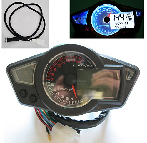 Universal 14000 rpm LCD Digital Velocímetro Tacómetro Cuentakilómetros Motocicleta mph km /...