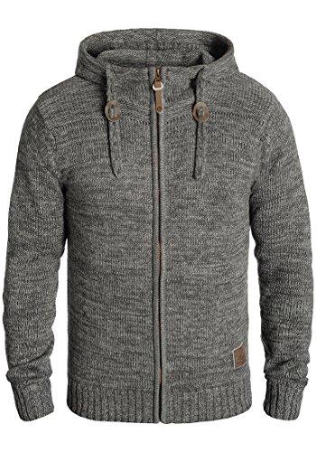SOLID Pancras Herren Zip-Hoodie Strickjacke Cardigan mit Kapuze aus 100% Baumwolle Meliert Dark Grey (2890)