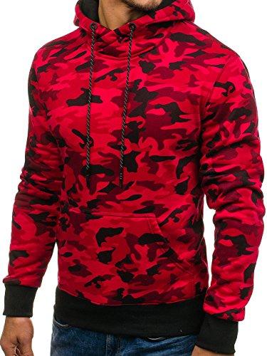 BOLF Herren Pullover mit Kapuze Sweatshirt Langarmshirt Sweatjacke Militär Army Camo Muster 1A1 Rot_DD129-1