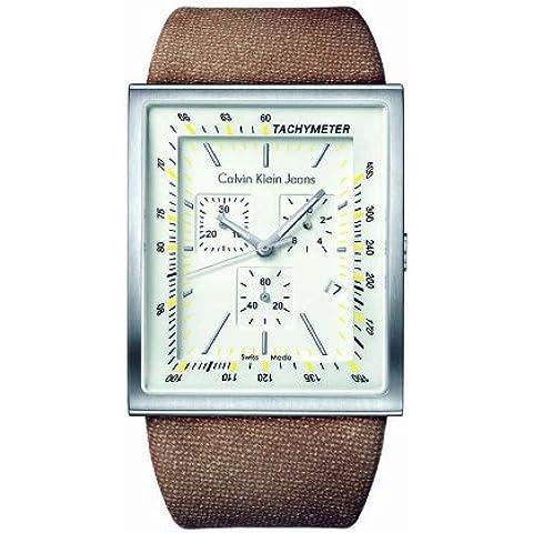 Calvin Klein K4217126 - Reloj de mujer de cuarzo, correa de textil color beige