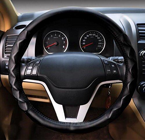 Car steering wheel cover Autozubehör Leder Hochwertige Lenkrad Abdeckung Auto Lammfell Lederbezug,Black