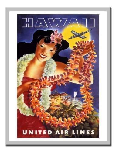 hawaii-united-airlines-travel-stampa-lavagnetta-magnetica-argento-con-cornice-41-x-31-cms-circa-406-