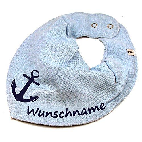 HALSTUCH ANKER mit Namen oder Text personalisiert hellblau für Baby oder Kind