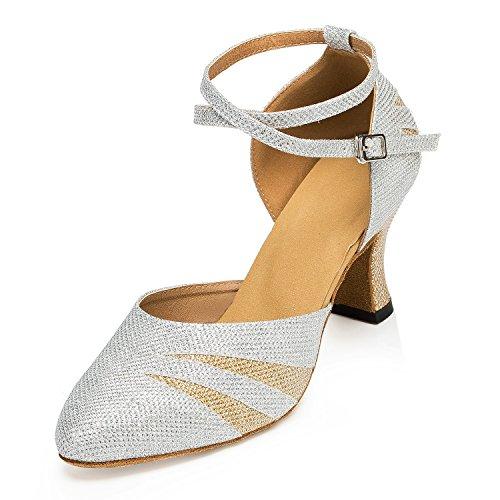 Honeystore Frauen's Funkelnde Glitzer Heels Absatzschuhe Moderne Tanzschuhe Silber 39 EU (Knoechelriemchen Heels Ballett)