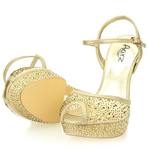 Femmes Dames Soir Mariage Party Haute Talon Stiletto Diamante Peep Toe De Mariée à Semelles Compensées Sandale Chaussures Taille (Or, Argent, Noir) Or