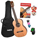 Cascha 4/4 Classical Guitar Beginner Set para principiantes, incluye libro de texto, afinador, gigbag/bolsa, 3 púas, guitarra clásica para niños a partir de 10 años para principiantes