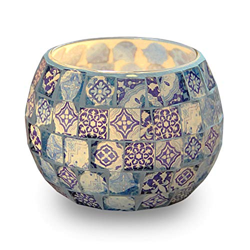 hthalter, blau-weißes Muster Glas handgefertigte Kerzenständer, Mosaik Stil Dekoration für Party Hochzeit Geburtstagsgeschenk ()