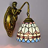 LL Wand-Lampen-Innenbeleuchtung Single Head Simple Style Doppelköpfe Stained Glass Decorative Lighting for Bedroom,onehead,15x26cm