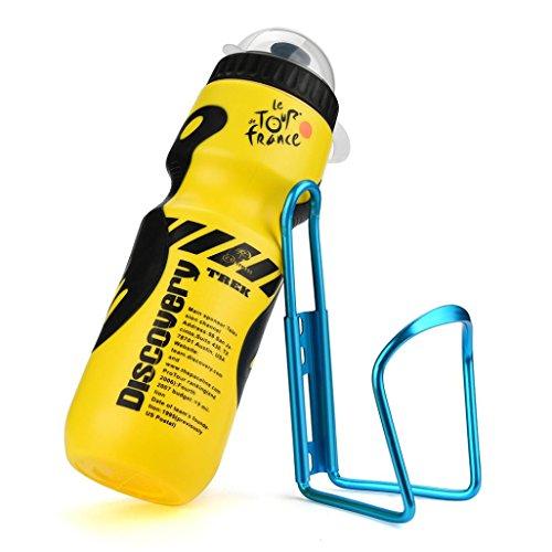 he im Freien Trinkflasche Aluminiumlegierung Sport Flasche 650ML Sportflasche Auslaufsicher Mit Halter Cage für Mountain Cycling Fahrrad (Gelber) ()