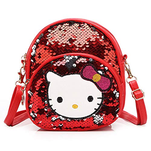 ck, Pailletten Mini Kindergarten Daypack Mädchen PU Leder Cute Kitty Shiny Bag als Abschlussgeschenk,Red ()