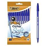 Bic Cristal Soft Punta Media 1,2 mm Confezione 10 Penne Colore Blu