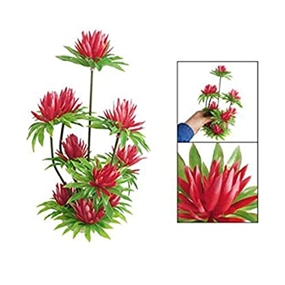"""SODIAL(R) Red Simulated Water Lily Lotus Plastic Plant Ornament 10"""" for Fish Tank Aquarium 1"""