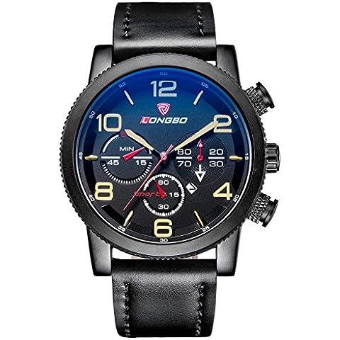 LONGBO Outdoor Sports orologio da uomo al quarzo Cool nero opaco impermeabile business misura grande Wristwatches brand in pelle analogico display data - Moon Phase Guarda