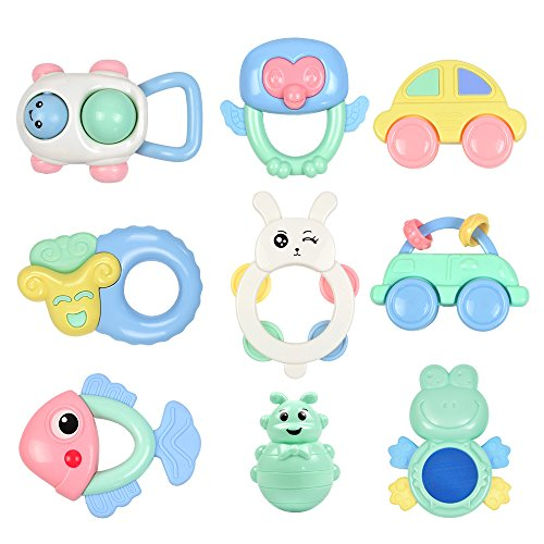 Tumama 9PCS Baby Rattles Newborn, 6-12 Months Baby Toys,Grasping Rattle Teether Sheep Owl Frog for Baby Girls Boys,Baby Teething Toys,Gift Set for Infants 51lbj8unOjL