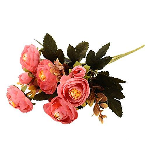 (MingXiao Hot Realistic Rosa Herbst Künstliche Gefälschte Pfingstrose Blume Hochzeit Hydrangea Decor Gefälschte Herbst Lebendige Pfingstrose Gefälschte Blatt 28 cm / 10,92''Lenth)